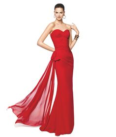 Vestido de festa vermelho, ideal para damas de honor Modelo Netania - Pronovias 2015