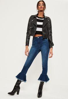 Missguided - Blue Premium Sinner High Waisted Frill Hem Flare Jeans