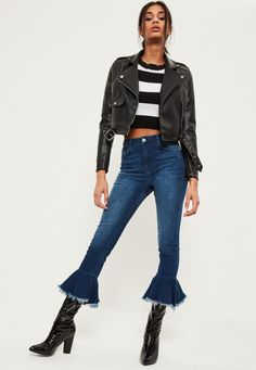 Missguided - Blue Premium Sinner High Waisted Frill Hem Flare Jeans