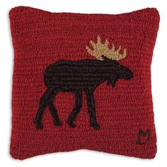 Brown Moose Hooked Wool Pillow