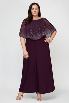 Topped with a beaded chiffon overlay, this A-line scoopneck plus-size dress is an elegant option for the mother of the bride or groom. By Alex Evenings Polyester, spandex Back zipper; fully lined Plus Size Cocktail Dresses, Plus Size Formal Dresses, Plus Size Gowns, Chiffon Dress Long, Beaded Chiffon, Mother Of Groom Dresses, Mothers Dresses, Mother Of The Bride Plus Size, Big Size Dress