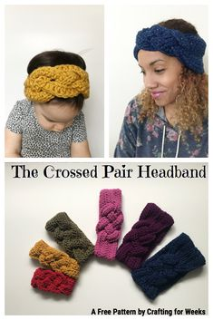 The Crossed Pair: A Free Crochet Pattern - Crafting for Weeks Crochet Baby Poncho, Crochet Headband Pattern, Knitted Headband, Knot Headband, Crochet Headbands, Baby Headbands, Crochet Clothes, Quick Crochet Patterns, Free Crochet