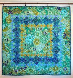 nine patch quilt, Kaffe Fassett nine patch quilt, Kaffe Fassett, aqua, color…