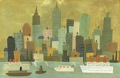 NYC from Staten Island. Limited edition print by Matte Stephens.   Etsy shop - matteart.