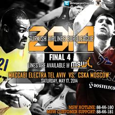 The 2014 Turkish Airlines Euroleague is down to four teams. Which team between CSKA Moscow and Maccabi Electra Tel Aviv will advance to the finals?  Get in the game! www.megasportsworld.com!