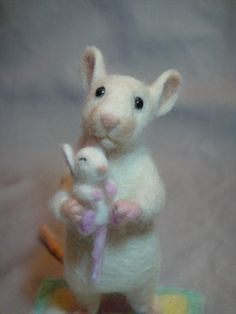 Needle Felted white rat/mouse by Laurie Valko, via Flickr