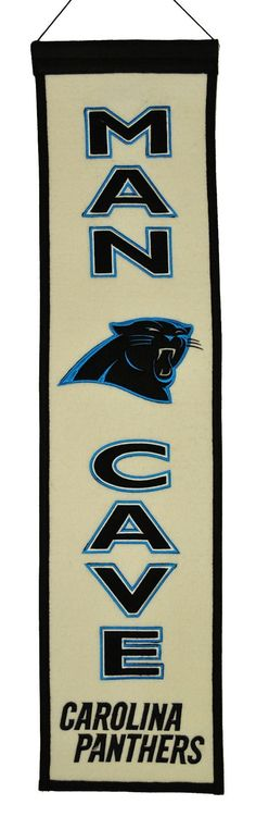 NFL Carolina Panthers Man Cave Banner: The leader in Sports Licensed Décor. Featuring the highest quality wool banners, pennants and sports décor. Proudly display your favorite team with Winning Streak. Panther Nation, Panthers Football, Sport Football, Ultimate Man Cave, Nfl Carolina Panthers, Sport Craft, Fan Gear, Banner Design, Sports