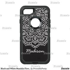 Black and White Mandala Flower Personalized Name OtterBox Defender iPhone 7 Case