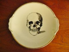 Skull hand painted vintage china dinner sized by trixiedelicious