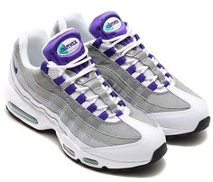 size 40 503e4 8498d NIKE AIR MAX 95 OG  WHITE   PURPLE   EMERALD GREEN   GREY  554970-151