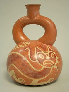 first century peruvian stirrups spout bottle with feline incised - from the met of course. jh