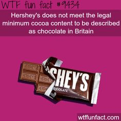 Hershey's - WTF fun fact WTF Facts : funny, interesting & weird facts Wtf Fun Facts, Funny Facts, Funny Memes, Jokes, Random Facts, True Facts, Random Stuff, The More You Know, Good To Know