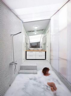 """of Would by Elii Architecture Office Pretty awesome bathtub/shower! """"House of Would by Elii Architecture Office""""Pretty awesome bathtub/shower! """"House of Would by Elii Architecture Office"""" Minimal Bathroom, Modern Bathroom, Master Bathroom, Small Bathroom, Office Bathroom, Bathroom Bath, Compact Bathroom, Relaxing Bathroom, Brown Bathroom"""