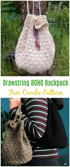 Crochet Drawstring Hobo Backpack Free Pattern -Crochet Backpack Free Patterns Adult Version