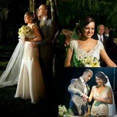 Vestido de noiva de gazar de seda com renda e bordados.