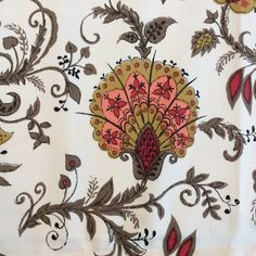 Vintage Jacobean Fabric Cotton Flourishes Decorative X 3 Yards Tapestry Fabric, Drapery Fabric, Fabric Panels, Fabric Material, Waverly Fabric, Paisley Fabric, Natural Background, Red Rooster, Gold Polka Dots