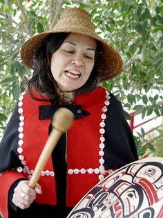 Haida woman in traditional dress, B.C., Canada
