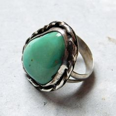 Vintage Navajo Sterling Silver Very Large and Clear Turquoise Ring - Native American Silver - Southwestern Sterling - Size 6 - Freeform