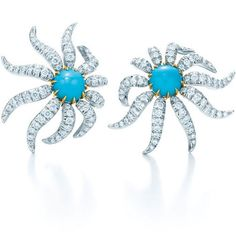 Tiffany & Co.   Jean Schlumberger Hedge and Row earrings of turquoise and diamonds in platinum and 18 karat gold available at Tiffany & Co.