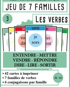 mondolinguo-7familles-verbes3 Core French, French Class, French Lessons, French Verbs, French Grammar, French Teacher, Teaching French, How To Speak French, Learn French