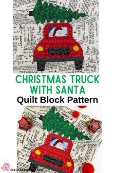 Hooh hooh hooh! Who doesn't need a Christmas truck with Santa driving it? This is very cute to make this Christmas season. #joejuneandmae #fabriccraft #christmastruckquilt #quiltblockpattern Beginner Quilt Patterns, Baby Quilt Patterns, Modern Quilt Patterns, Paper Piecing Patterns, Quilting For Beginners, Sewing Patterns, Christmas Quilt Patterns, Christmas Quilting, Quilting Projects