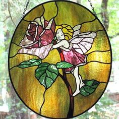 Rose Fairy Oval Stained Glass Suncatcher Panel by LivingGlassArt for $250.00
