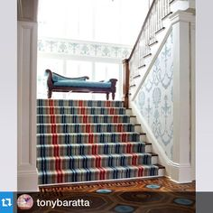 #Repost @tonybaratta Neoclassical decor for a double wide staircase in a colonial revival house. . The runner is inspired by the stair at Boscobel- the great Federal house on the Hudson in Garrison, New York. Visit it this Spring-it's a wonderful day trip from NYC. #Boscobel #interiors #decor #decoracion #decoratehappy #historic house#details #instadecor #interiors #instadecor #elegance#federal#