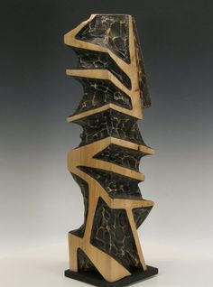 Geometric form carved from Silver maple and dyed black. Driftwood Sculpture, Outdoor Sculpture, Outdoor Art, Abstract Sculpture, Hero Crafts, Reclaimed Wood Benches, Wholesale Crafts, Arts And Crafts Furniture, Woodworking Inspiration