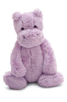 The lilac hippo is an incredibly soft and huggable cutie. Plastic bead filled bottom helps the hippo sit up. Dimensions: H 12 x W 5 inches. Made in China. Little Ones, Little Girls, Baby Girls, Cute Hippo, Baby Hippo, Baby Baby, Cute Stuffed Animals, Jellycat, Plush Animals