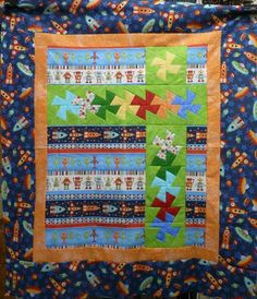 With a Twist Spaceship/Alien Baby Quilt Kit - Rockets Backing