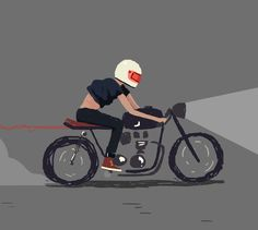 """The term developed among British motorcycle enthusiasts of the early specifically the Rocker or """"Ton-Up Boys"""" subculture, where the bikes were used for short, quick rides between cafés – in other words, drinking establishments. Motorcycle Art, Bike Art, Classic Motorcycle, Gif Animé, Animated Gif, Ace Cafe, Art Moto, Estilo Cafe Racer, 2d Character Animation"""