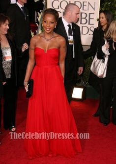 Mary J. Blige Red Strapless Prom Dress Golden Globes 2007 Celebrity Gowns - TheCelebrityDresses