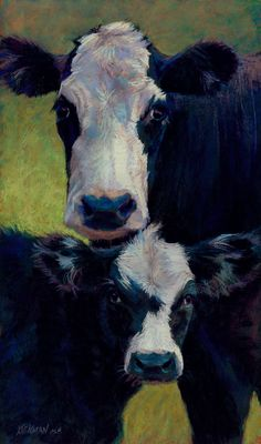 Daily Paintworks - Rita Kirkman _ I've got to get a print of this! I love love love this cow and calf Cow Painting, Painting & Drawing, Illustrations, Illustration Art, Cow Pictures, Farm Art, Cow Art, Pastel Art, Western Art