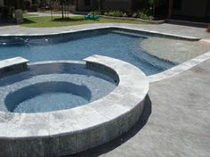 Pool ideas, I like the large first step with small fountains.
