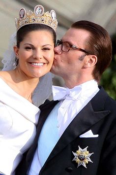 Crown Princess Victoria of Sweden on her wedding day to her former trainer Daniel Westling