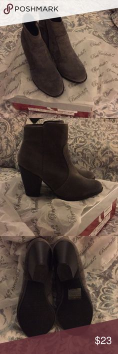 New boots New ankle boots. Still in box. Heather Grey suede man made material. Breckelles Shoes Ankle Boots & Booties