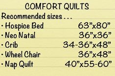 Common Sizes for Charity/Donation/Comfort Quilts. HANDY!!