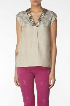 Hoss Intropia Linen metal embellished shirt embroidery Metallic Grey