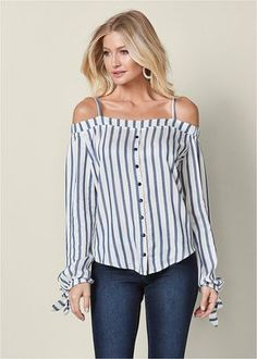 Order a sexy White Multi Cold Shoulder Button Up Top from VENUS. Shop short sleeve tops, tanks, tees, blouses and more at an affordable price today! Off Shoulder Diy, Shoulder Shirts, Cold Shoulder, Diy Clothing, Sewing Clothes, Diy Fashion, Fashion Outfits, Venus Swimwear, Colored Skinny Jeans