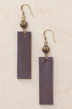 Dolores Leather Earrings - Brown
