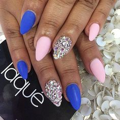 Blue and matte with diamond accent nail