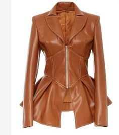 This **Christian Siriano** Faux Leather Corset Jacket features a v neckline, notched lapel collar, and a peplum waist. Brown Faux Leather Jacket, Leather Peplum, Vegan Leather Jacket, Leather Corset, Faux Leather Jackets, Men's Leather, Leather Fashion, Leather Texture, Brown Jacket