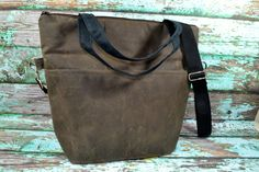 Diaper bag & Nappy Sack, Espresso Brown and Black Waxed Canvas - faux leather, lightweight, vegan by Darby Mack Made in the USA, waterproof