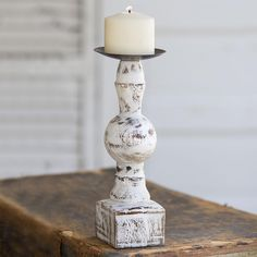This beautiful Wood pillar candle holder with metal drip plate measures diameter x Perfect for your Vintage, Shabby Chic, Cottage or Beachy Decor! Candle Lanterns, Pillar Candles, Rustic Farmhouse Decor, Primitive Decor, Farmhouse Candles, Coastal Farmhouse, Country Primitive, Country Farmhouse, French Country