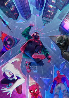 Sony Animation Studios and directors Peter Ramsey, Rodney Rothman, and Bob Persichetti go buck wild with the fantastic Spider-Man: Into the Spider-Verse. Ditching continuity altogether while… Spiderman Spider, Amazing Spiderman, Spider Gwen, Miles Morales Spiderman, Marvel Drawings, Marvel Wallpaper, Comics Universe, Spider Verse, Noragami