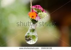 decorative flowers in a light bulb hanging on a string