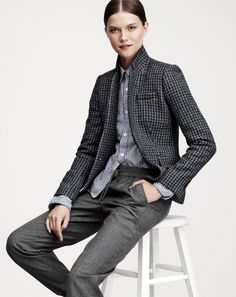 J.Crew women's Regent blazer, Play Comme des Garcons top, and drapey sweatpant. To preorder call 800 261 7422 or email erica@jcrew.com.