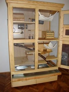 An aviary is a shed or cage like construction designed as a living space for wild or domesticated fowl. Cage Chinchilla, Ferret Cage, Rat Cage, Chinchillas, Pet Rats, Degu Cage, Sugar Glider Cage, Sugar Gliders, Cat Wall Furniture