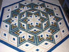 ` Diamond Log Cabin Star  ~ Great for a quilt tree pattern....