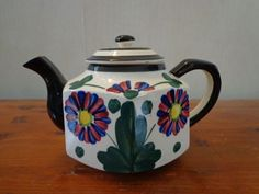 Unique Hand Painted Floral Tea Pot Teapot Made in Japan Lots of Glaze Crackling